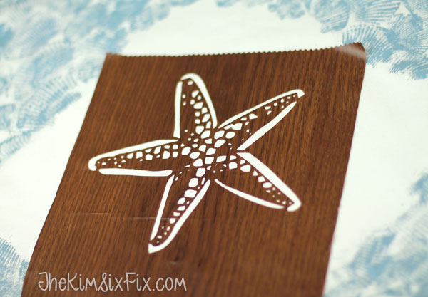 Stenciling starfish pillow