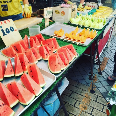 Fruit stall in Ameyoko Ueno is great on a hot summers day!