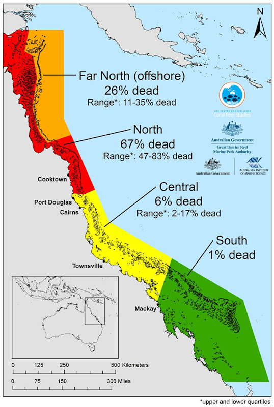 Mortality map for the Great Barrier Reef (GBR) after the massive bleaching event in 2016. The map, detailing coral loss on the GBR, shows how mortality varies enormously from north to south. Graphic: ARC Centre of Excellence for Coral Reef Studies