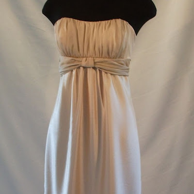 Rouched Bodice Dress. Chiffon Bust and Waist detail, over Shantung