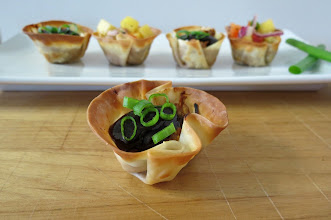 Photo: BBQ Pork Wontons - A little wonton wrapper filled with shredded barbecue pork and topped with your favorite toppings.  http://www.peanutbutterandpeppers.com/2013/01/26/bbq-pork-wontons/  #wontons   #barbecuepork   #appetizer   #Superbowlrecipes