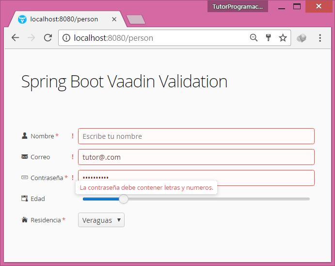 Validar formulario usando Vaadin y Spring Boot