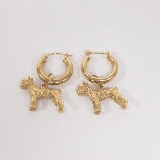 14K Gold Terrier Pendant Earrings