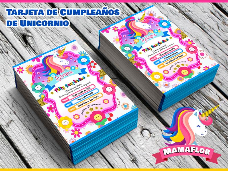 Invitaciones de Cumpleaños de Unicornio para Imprimir