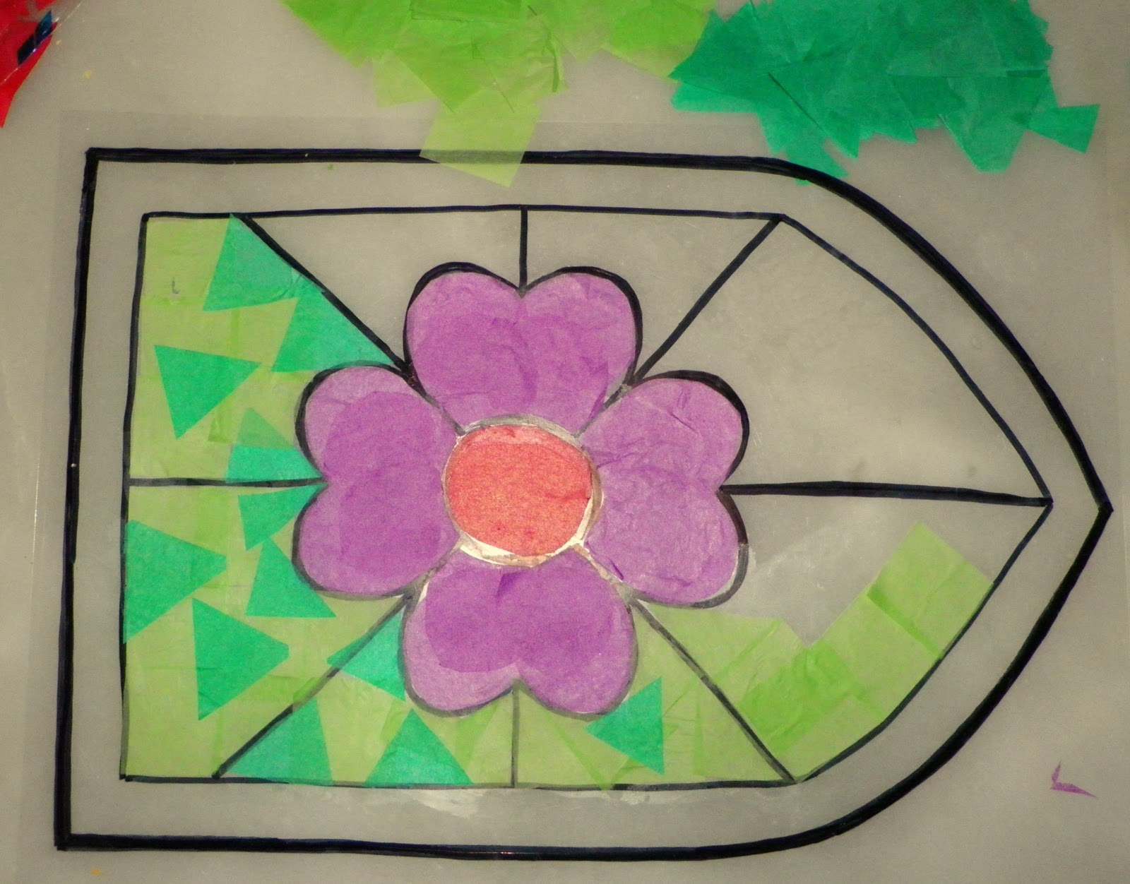 Re creo de colores vidriera de papel de seda sobre acetato - Como hacer una vidriera ...