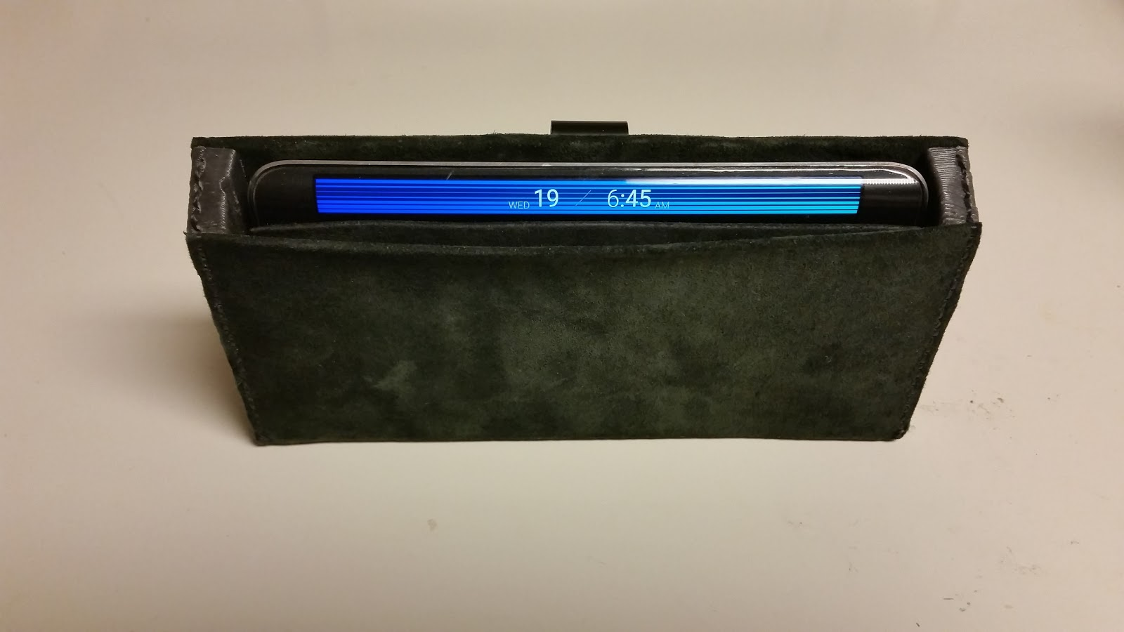 I made a custom leather belt case for my custom wireless charging flip cased Galaxy…