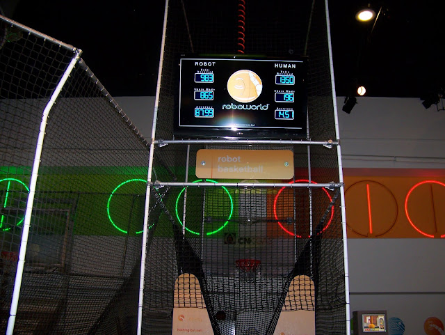 playing basketball against a robot at roboworld. A Guide to Exploring the Carnegie Science Center