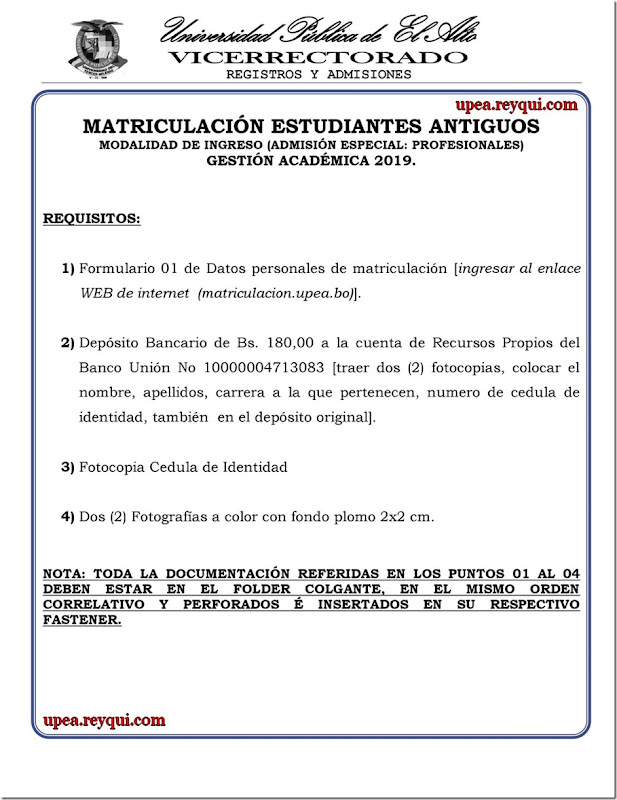 Matriculación UPEA 2019