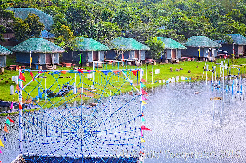 The spider net is part of the slide and drop at at Caliraya Mountain Lake Resort