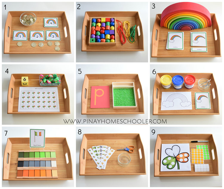 Montessori Inspired Trays for St. Patrick's Day