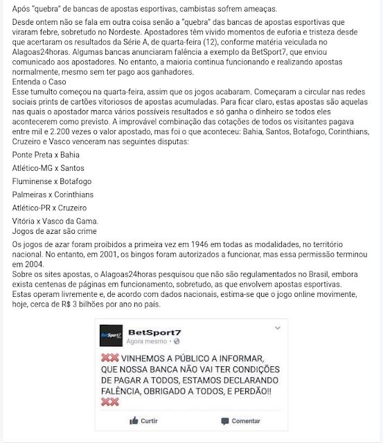"""APÓS """"QUEBRA"""" DE BANCAS DE APOSTAS ESPORTIVAS, CAMBISTAS SOFREM AMEAÇAS DE MORTE"""