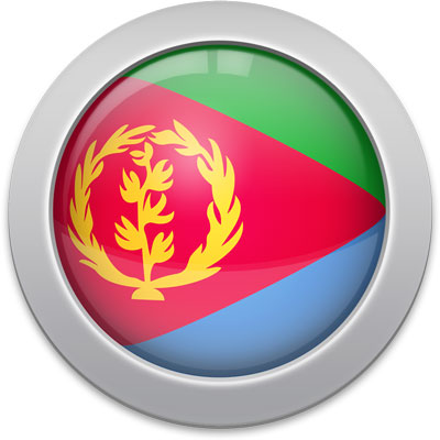 Eritrean flag icon with a silver frame