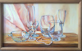 salonowa martwa natura, olej, płótno, 30x50cm
