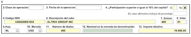Ejemplo de formulario D6 para un valor depositado en Degiro