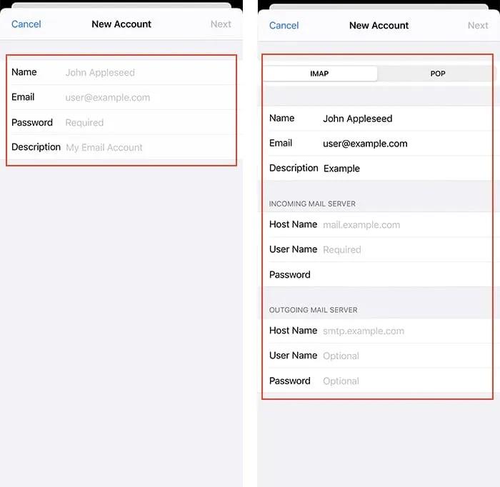 إضافة حساب بريد إلكتروني Iphone إضافة تفاصيل Imap Pop