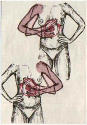 Растирание от груди до пупка