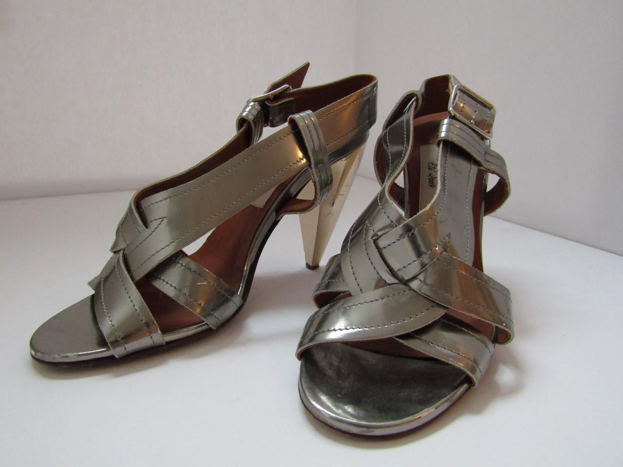 Lanvin Metallic Cone Heels