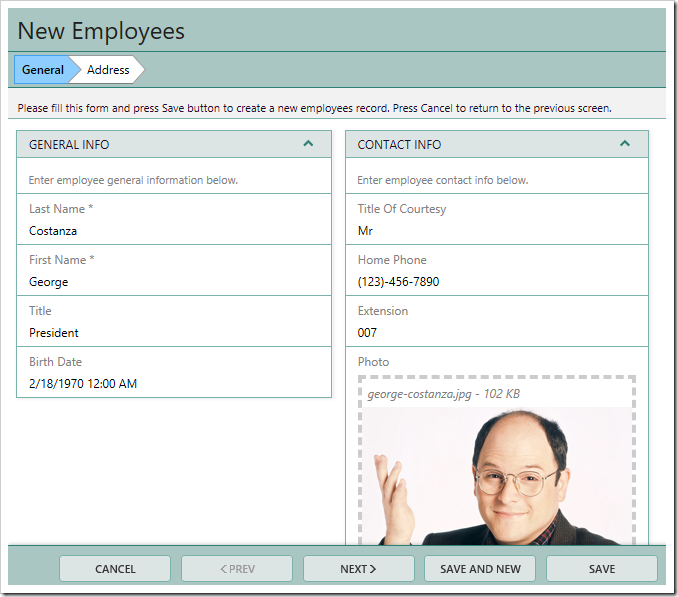 Entering 'President' will hide the only category representing the 'Employee' wizard step, therefore hiding that step.