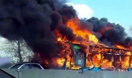 Madness Or What? Angry Driver Hijack School Bus Filled With Children, Sets It On Fire (Photos/video)
