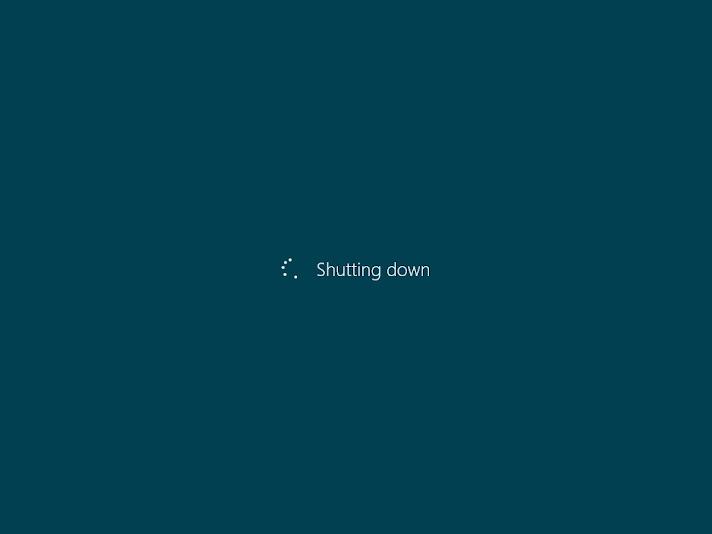 Windows 8 shut down screen