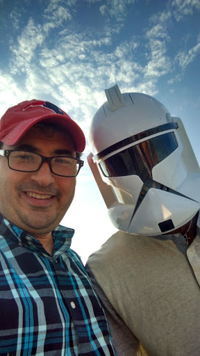 "Yeah, I'm a Star Wars geek. I had to get a ""selfie"" with this guy!  :)"