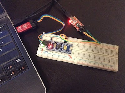 STM32F103, ST-LINK/V2 programmer and debugger and USB-Serial adapter
