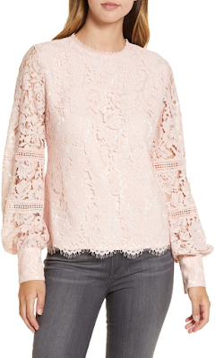 long-sleeved blush pink lace top