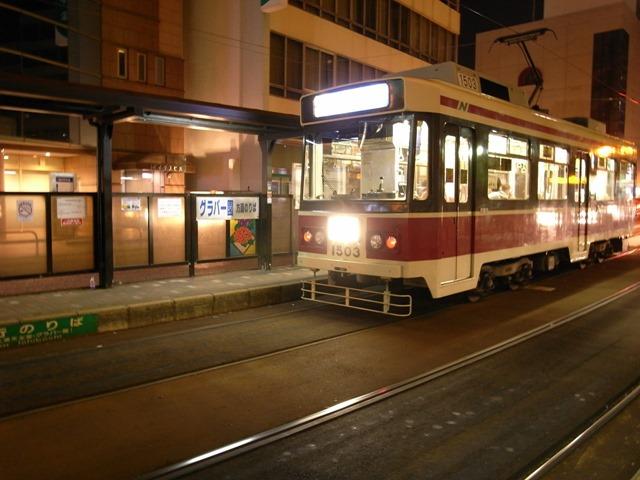 長崎路面電車夜