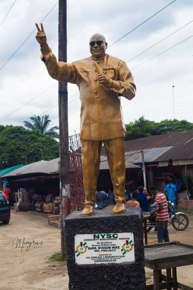 See The Huge Statue Of Governor Wike Erected By Youth Corper In Rivers (Photos)