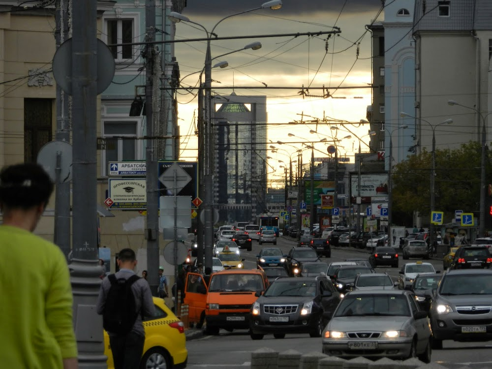 an electric cloudy sunset on Arbat Street