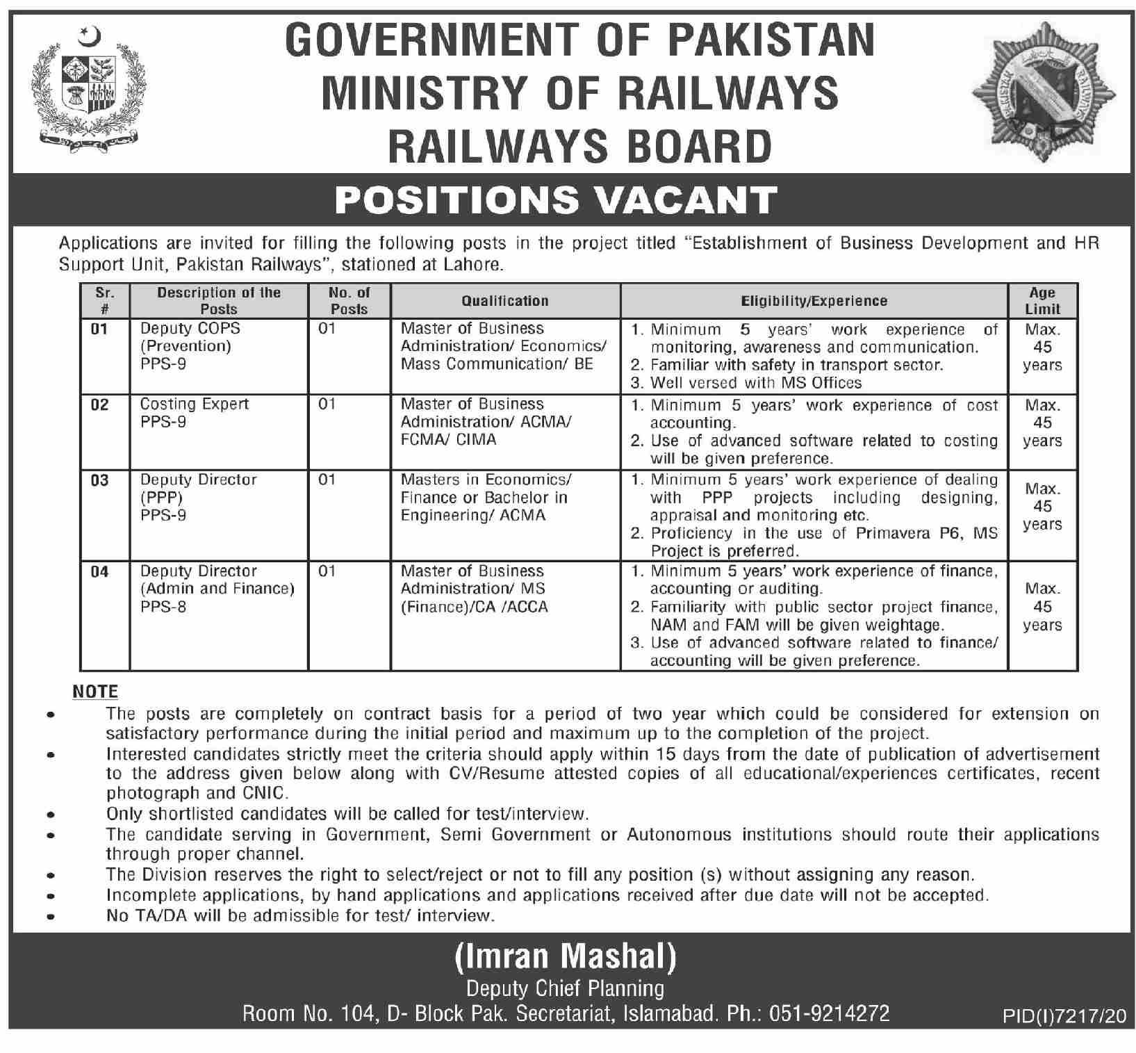 Ministry of Railways Jobs 2021 Govt of Pakistan Current Openings Advertisement