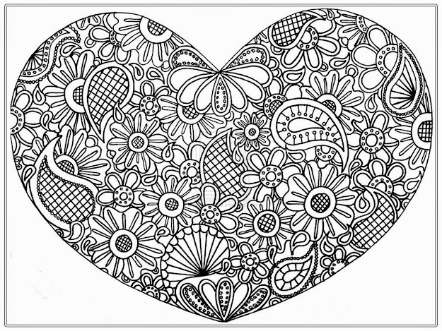 Abstract Heart Coloring Pages For Adults