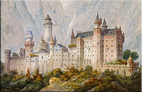 Boceto ideal del Castillo de Neuschwanstein, por Christian Jank, 1869