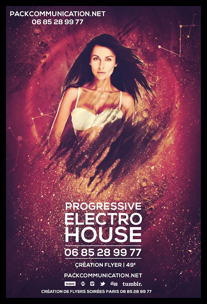création flyers soirées thème Progressive Electro House