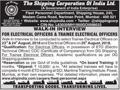 Shipping Corporation of India notification 2018 www.indgovtjobs.in