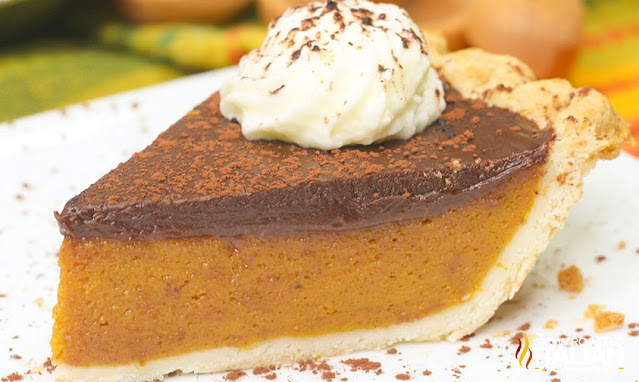 Pumpkin Pie with Chocolate Ganache with whipped cream on top