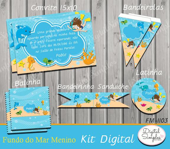 Kit Digital Fundo do Mar .....artesdigitalsimples@gmail.com