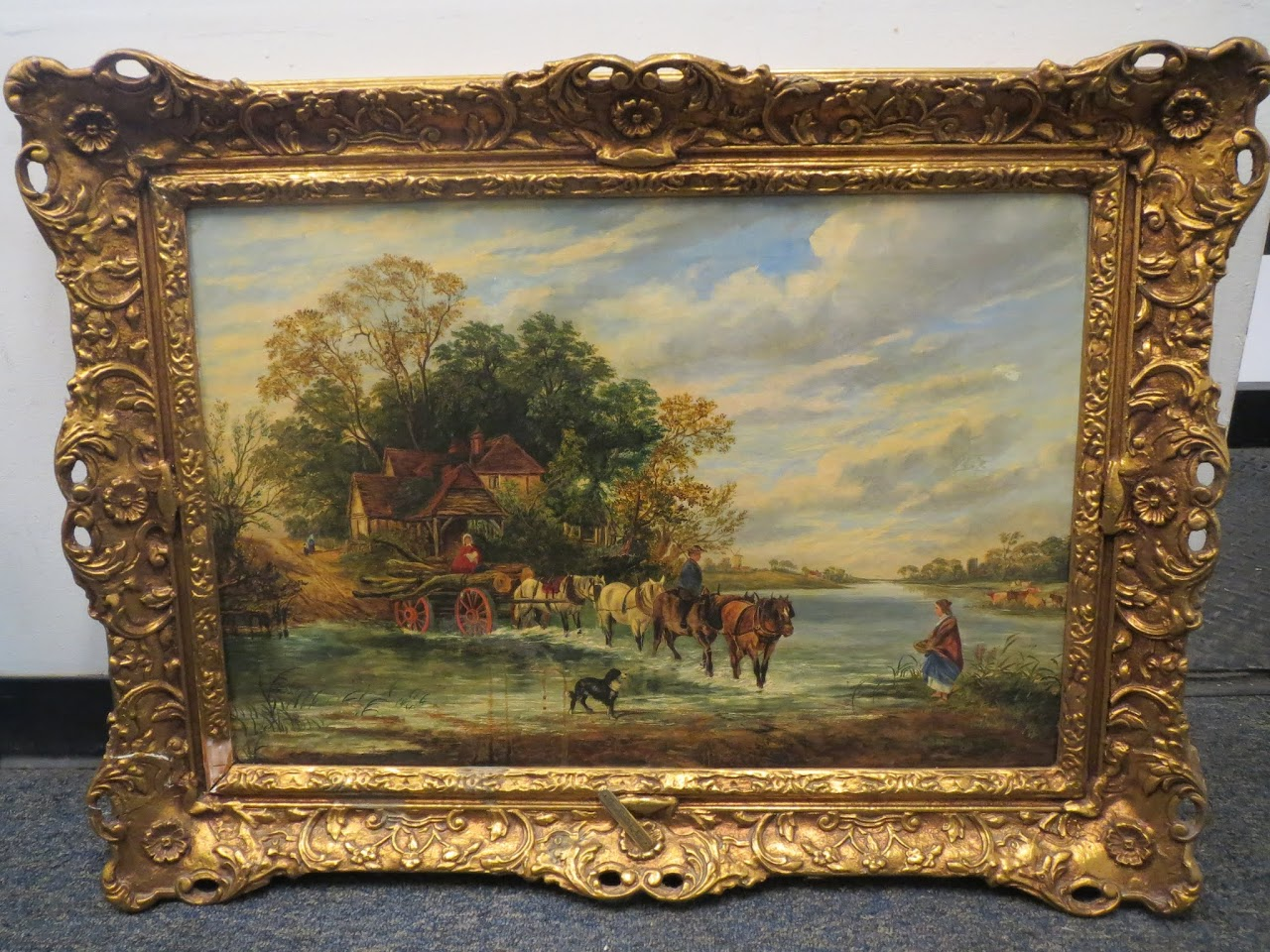 Signed Painting by George Cole - Fording the River