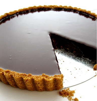 resepi dark chocolate tart with ginger crust