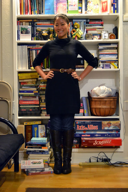 sacramento office fashion blogger angeline evans jcrew outlet dress skinny jeans franco sarto boots