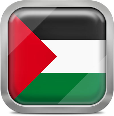 Palestine square flag with metallic frame