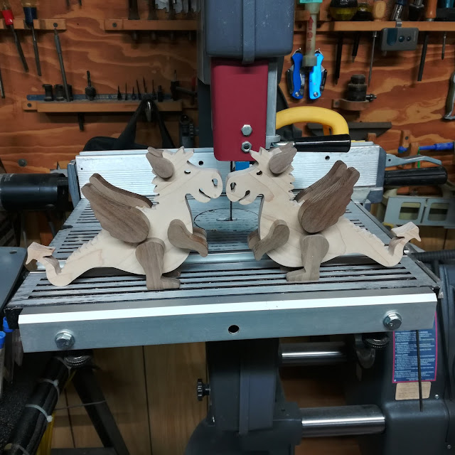 Two Handmade Wood-Dragons Ready to Mount on the Rolling Base