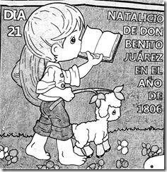 Dibujo del natalicio de Benito Juárez para colorear