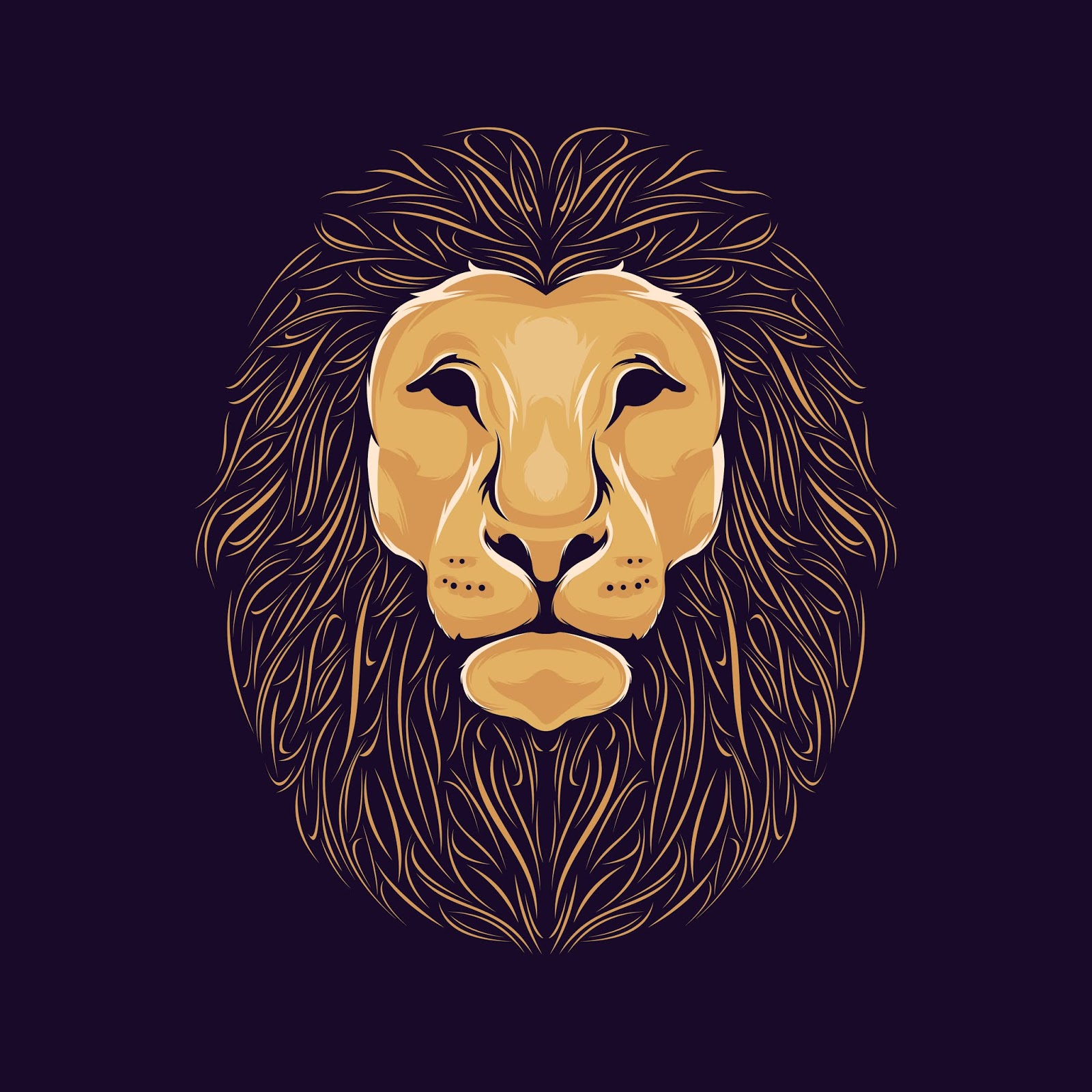 Lion Head Illustration Funny Free Download Vector CDR, AI, EPS and PNG Formats