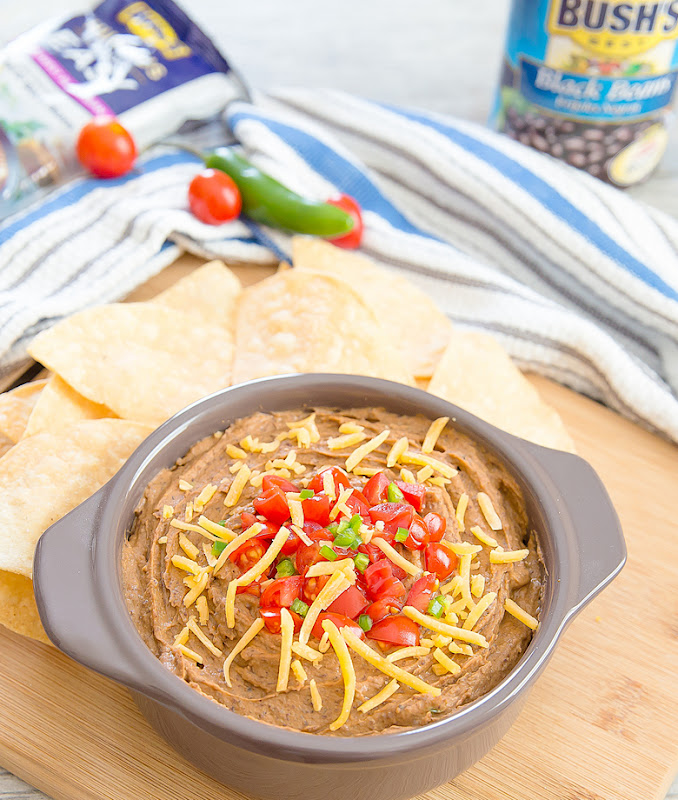 overhead photo of Southwest Black Bean Hummus Dip with chips on the side