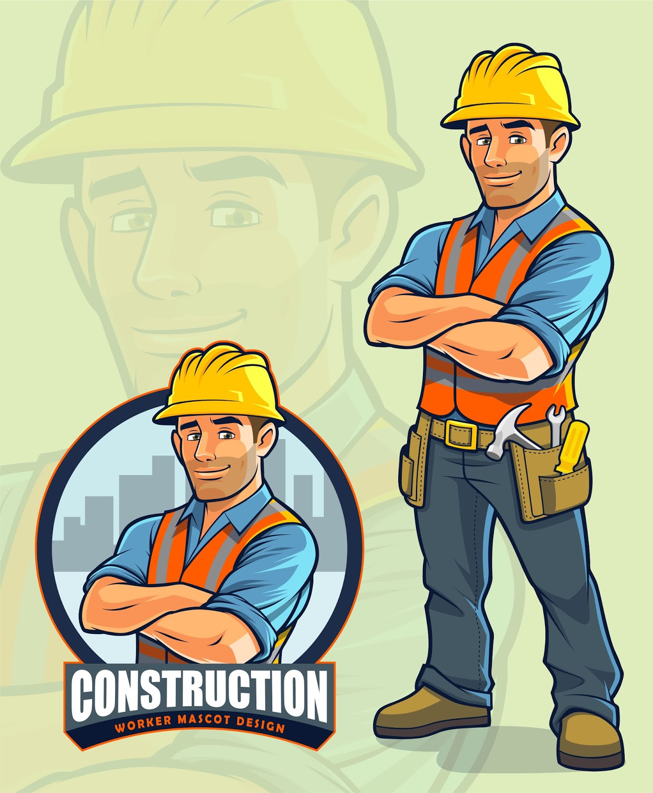 Construction Worker Mascot Design.jpg Free Download Vector CDR, AI, EPS and PNG Formats