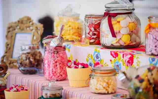 Recipientes con dulces Centro de mesa