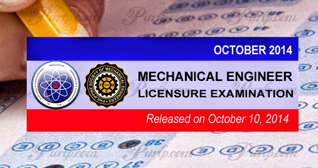 PRC Exam Results October 2014 Mechanical Engineer