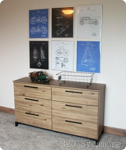 industrial prints boys room