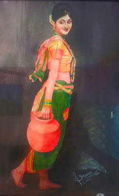 lady with pot water colour painting by bmanikarts.in